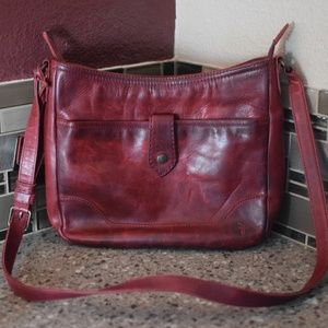 FRYE Melissa Red Clay Leather Crossbody
